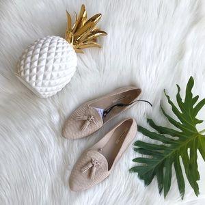 ZARA Textured Nude Tassel Loafers